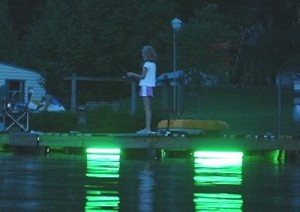 Hydro Glow DM260, 120V Dock Mounted Fishing Light - Color Green Fish Light