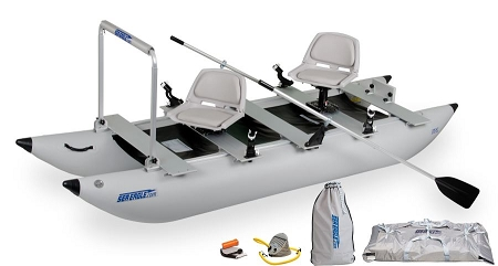 Sea Eagle Green 375fc Inflatable FoldCat Fishing Boat Pro Angler Guide Package