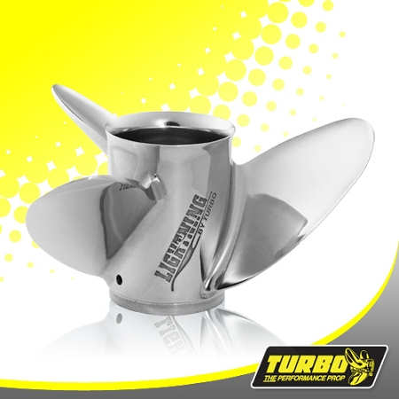 Turbo Lightning Boat Propeller - (Suzuki) 4.75 Gear Case,14 1/2 Diameter,3 Blade
