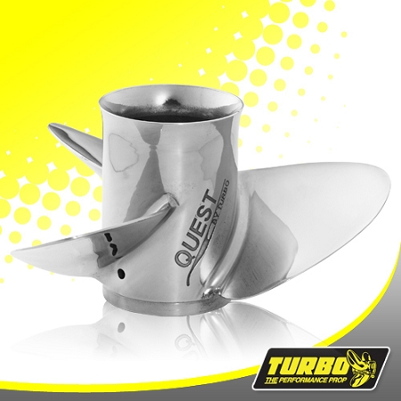 Turbo Quest Boat Propeller - (Nissan Tohatsu) 4.25 Gear Case,13 1/8 Diameter,3 Blade