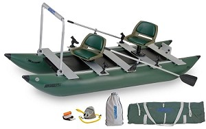 Sea Eagle 375fc FoldCat Pro Angler Guide Pontoon Package Fishing Boat 375FCK_P Green Hull