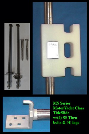 "TideSlide MS Series Heavy Duty Mooring System 1 3/4"" Shaft for boats up to 40'  to 65' or 45-65,000 lbs Yacht Class"