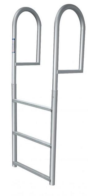 "JIF Marine DJV3 Stationary Straight Dock Aluminum Ladder 3 Step with 2"" wide step"