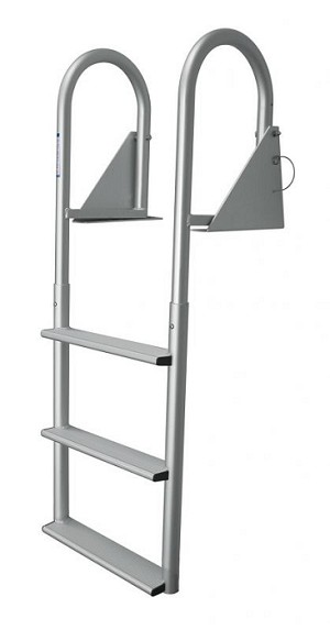 "JIF Marine DJW3-W Aluminum Hinged 3 Step Dock Ladder with Wide 4"" Step"