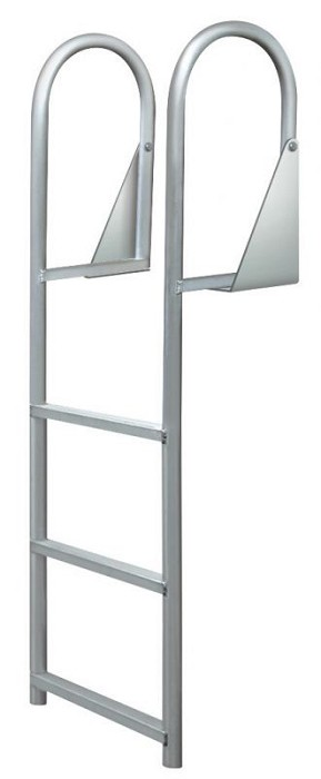 "JIF Marine DJW3 Aluminum Hinged 3 Step Dock Ladder with Wide 2"" Step"
