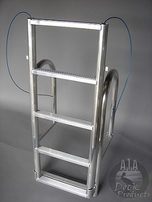 A1A Aluminum Dock 5 step Short Based  Lift Ladder Model Shown